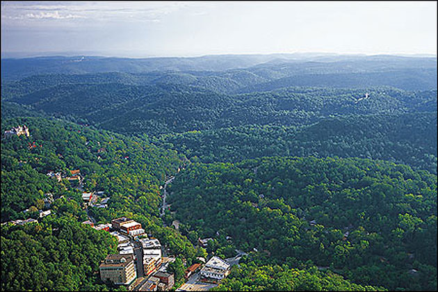Aerial View Of Historic Downtown Eureka Springs